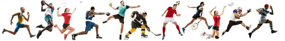 Creative collage of children and adults in sports