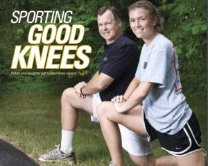 Father and daughter get custom knee repairs.