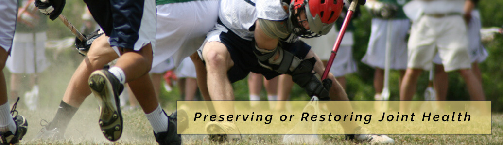 Preserving or Restoring Joint Health with lacrosse game in background